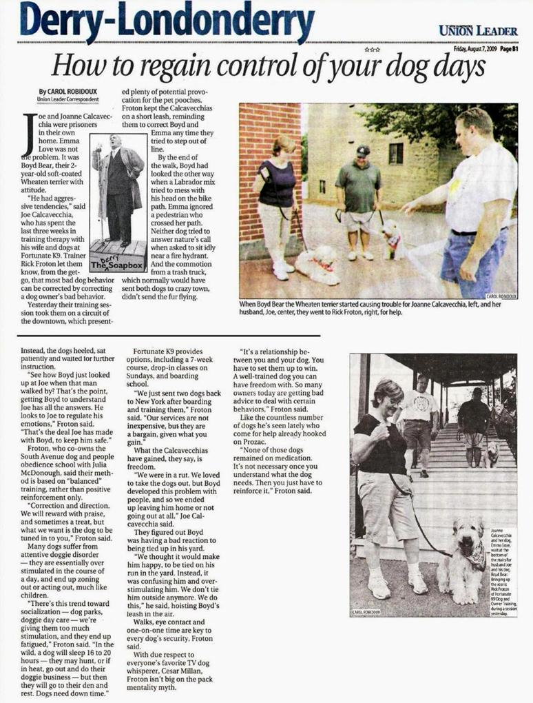 Fortunate K9's Rick Froton Union Leader article.